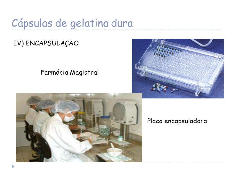 Cápsulas de gelatina dura IV) ENCAPSULAÇAO Farmácia Magistral Placa encapsuladora