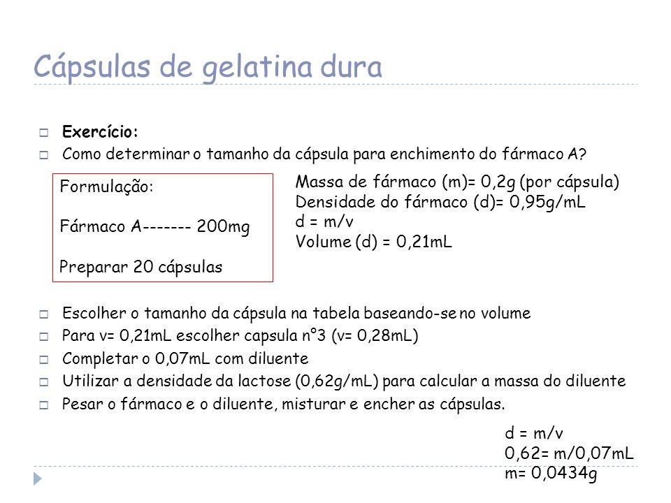 Cápsulas de gelatina dura Exercício: Como determinar o tamanho da cápsula para enchimento do fármaco A? Escolher o tamanho da cápsula na tabela basean