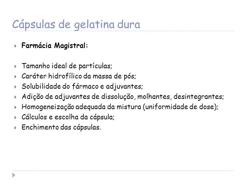 Cápsulas de gelatina dura Farmácia Magistral: Tamanho ideal de partículas; Caráter hidrofílico da massa de pós; Solubilidade do fármaco e adjuvantes;