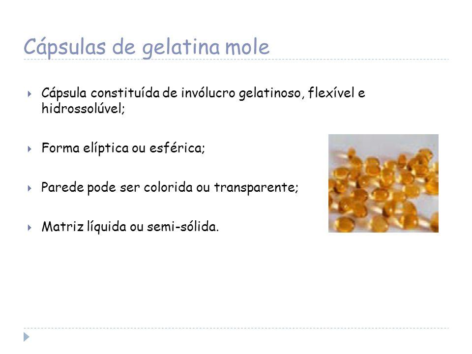 Cápsulas de gelatina mole Cápsula constituída de invólucro gelatinoso, flexível e hidrossolúvel; Forma elíptica ou esférica; Parede pode ser colorida