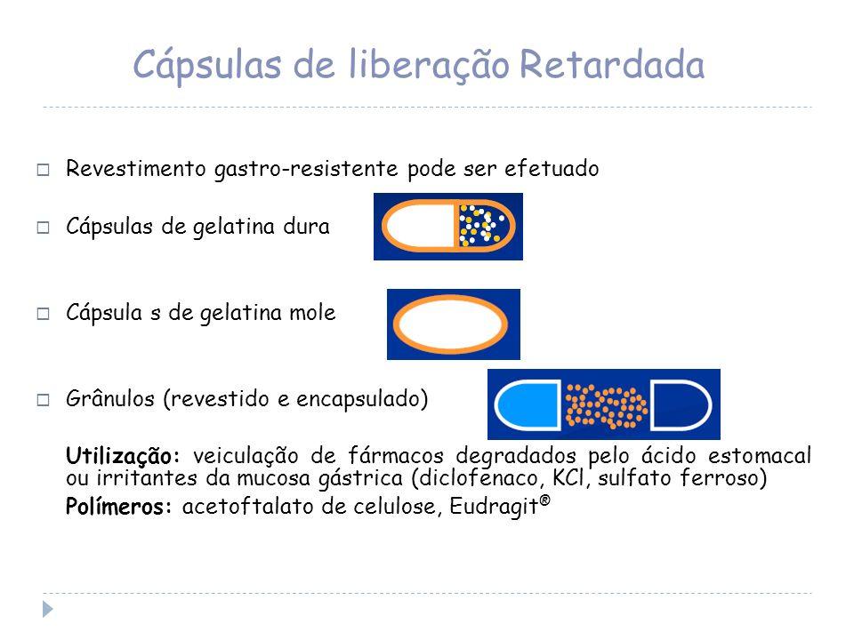 Cápsulas de liberação Retardada Revestimento gastro-resistente pode ser efetuado Cápsulas de gelatina dura Cápsula s de gelatina mole Grânulos (revest