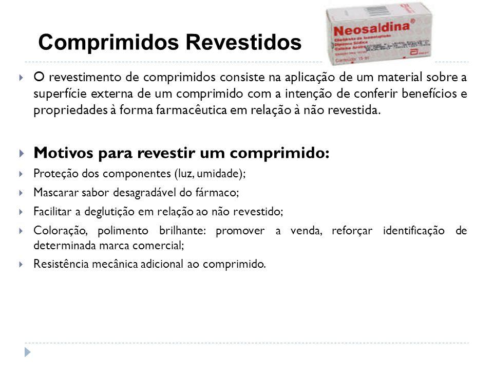 O revestimento de comprimidos consiste na aplicação de um material sobre a superfície externa de um comprimido com a intenção de conferir benefícios e