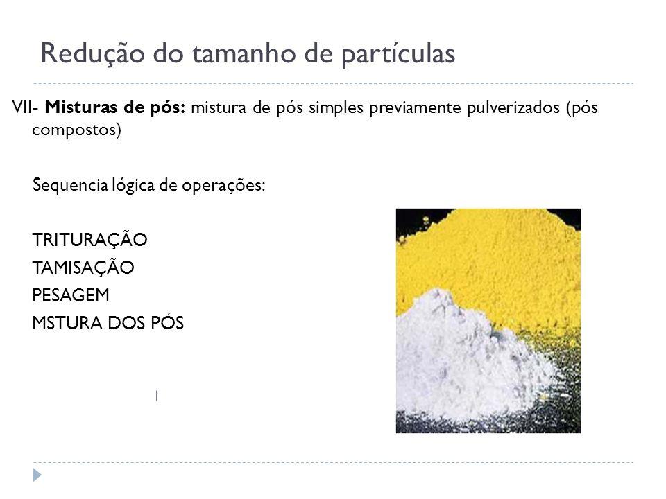 Redução do tamanho de partículas VII- Misturas de pós: mistura de pós simples previamente pulverizados (pós compostos) Sequencia lógica de operações: