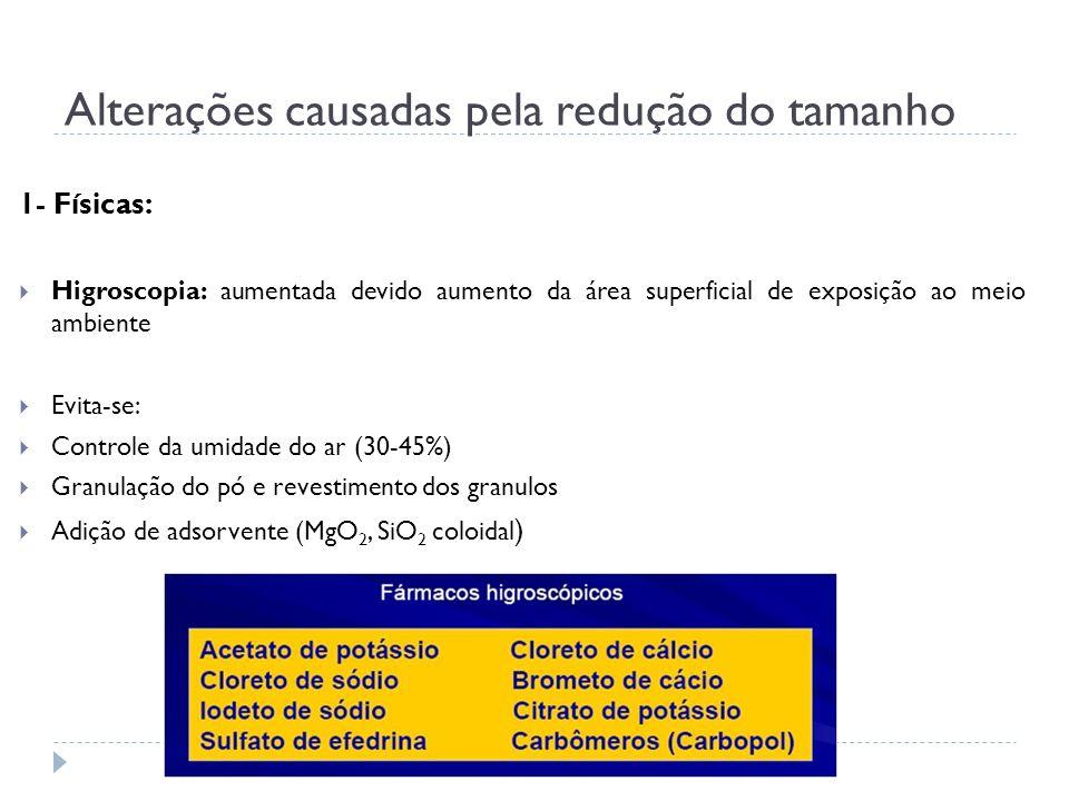 1- Físicas: Higroscopia: aumentada devido aumento da área superficial de exposição ao meio ambiente Evita-se: Controle da umidade do ar (30-45%) Granu
