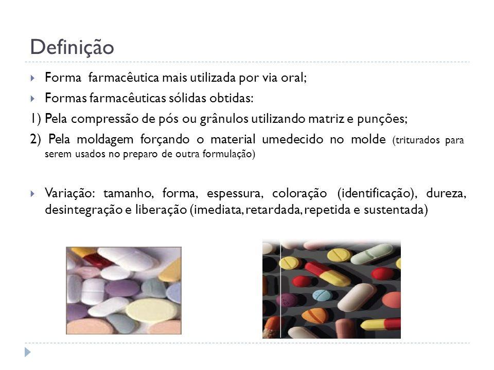 Definição Forma farmacêutica mais utilizada por via oral; Formas farmacêuticas sólidas obtidas: 1) Pela compressão de pós ou grânulos utilizando matri