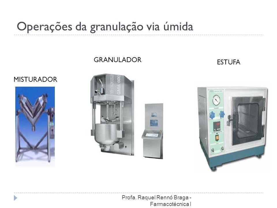 Operações da granulação via úmida MISTURADOR GRANULADOR ESTUFA Profa. Raquel Rennó Braga - Farmacotécnica I