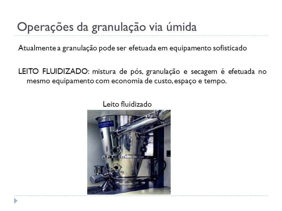 Operações da granulação via úmida Atualmente a granulação pode ser efetuada em equipamento sofisticado LEITO FLUIDIZADO: mistura de pós, granulação e