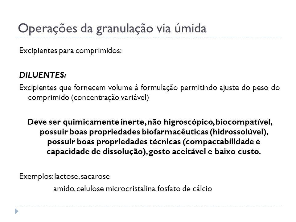 Operações da granulação via úmida Excipientes para comprimidos: DILUENTES: Excipientes que fornecem volume à formulação permitindo ajuste do peso do c