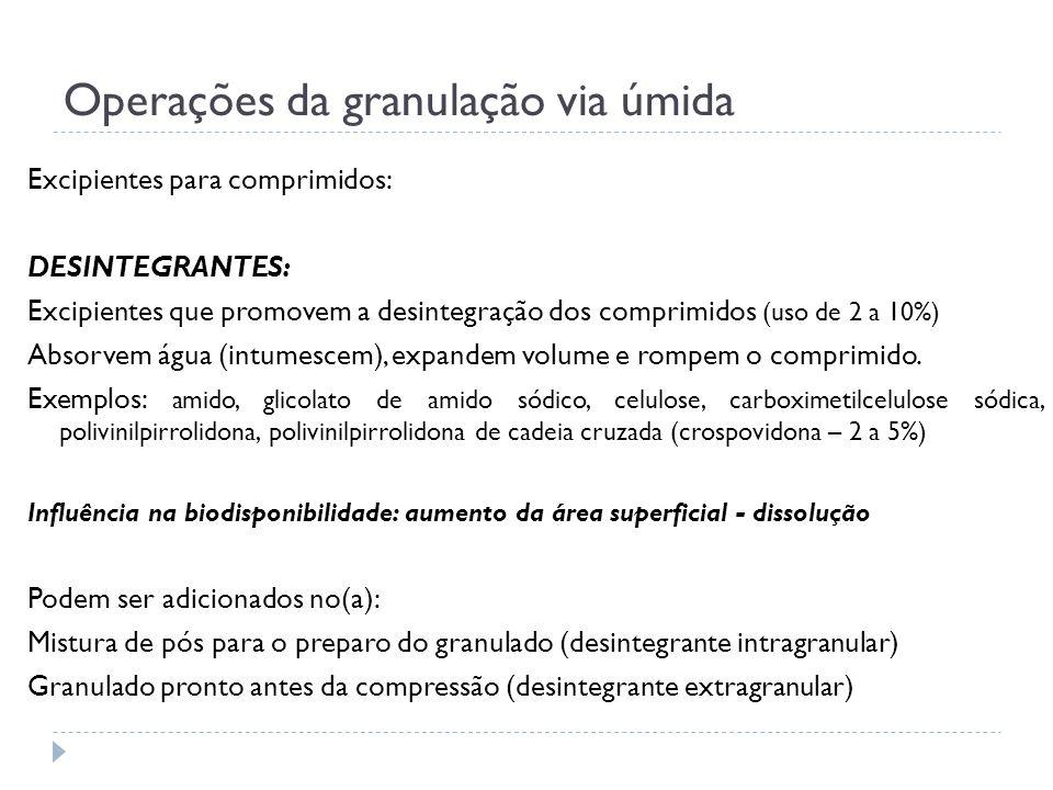 Operações da granulação via úmida Excipientes para comprimidos: DESINTEGRANTES: Excipientes que promovem a desintegração dos comprimidos (uso de 2 a 1