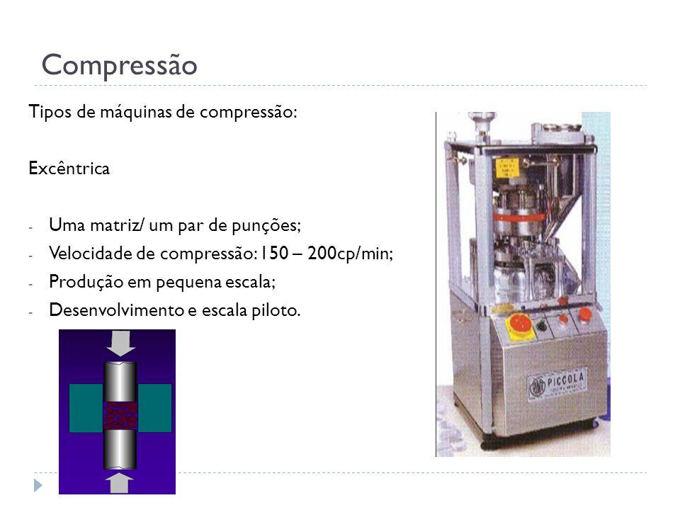 Compressão Tipos de máquinas de compressão: Excêntrica - Uma matriz/ um par de punções; - Velocidade de compressão: 150 – 200cp/min; - Produção em peq