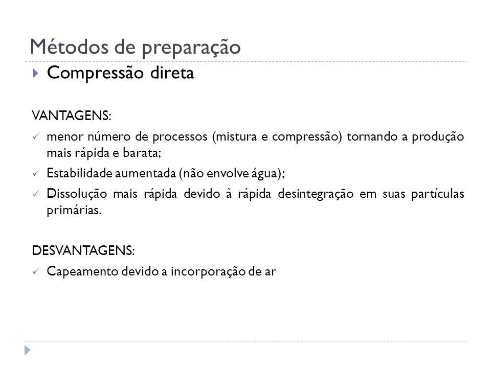 Métodos de preparação Compressão direta VANTAGENS: menor número de processos (mistura e compressão) tornando a produção mais rápida e barata; Estabili