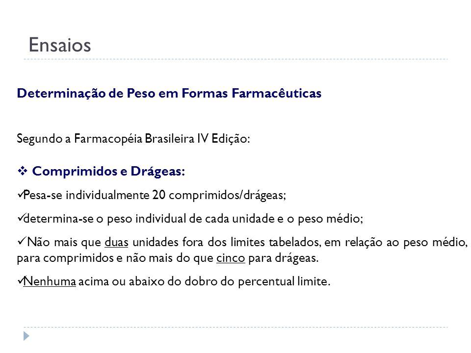 Segundo a Farmacopéia Brasileira IV Edição: Comprimidos e Drágeas: Pesa-se individualmente 20 comprimidos/drágeas; determina-se o peso individual de c