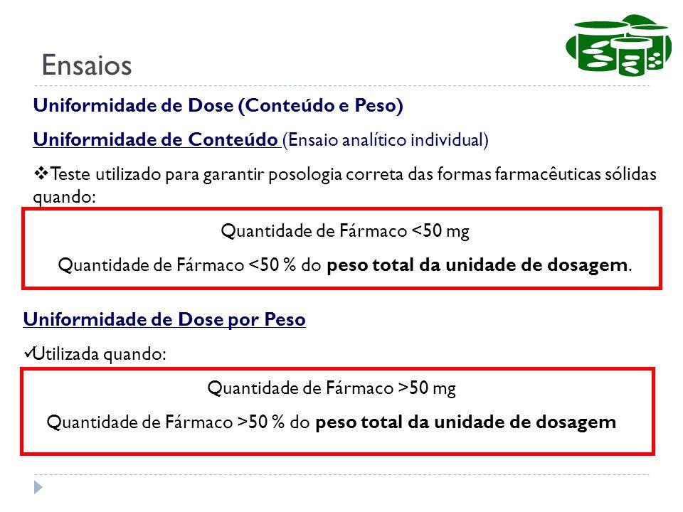 Uniformidade de Dose (Conteúdo e Peso) Uniformidade de Conteúdo (Ensaio analítico individual) Teste utilizado para garantir posologia correta das form
