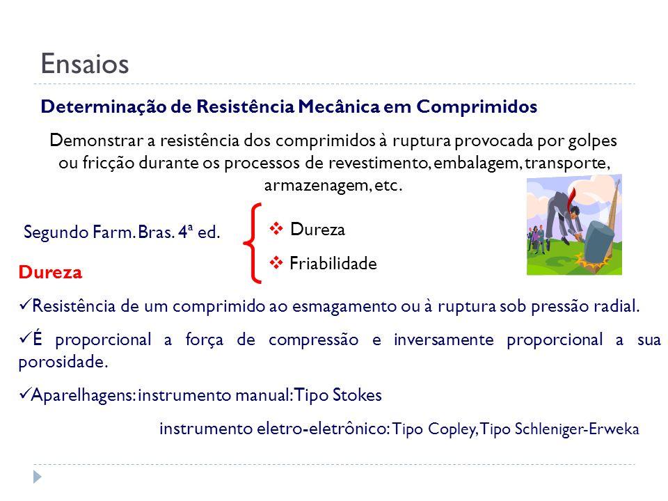 Determinação de Resistência Mecânica em Comprimidos Demonstrar a resistência dos comprimidos à ruptura provocada por golpes ou fricção durante os proc