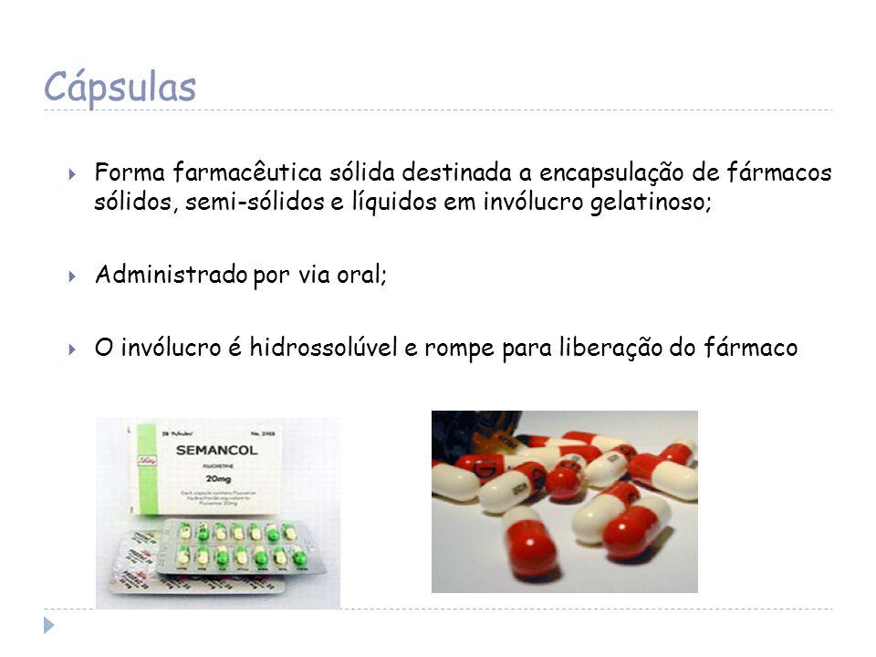 Forma farmacêutica sólida destinada a encapsulação de fármacos sólidos, semi-sólidos e líquidos em invólucro gelatinoso; Administrado por via oral; O