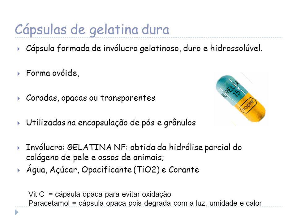 Cápsulas de gelatina dura Cápsula formada de invólucro gelatinoso, duro e hidrossolúvel. Forma ovóide, Coradas, opacas ou transparentes Utilizadas na