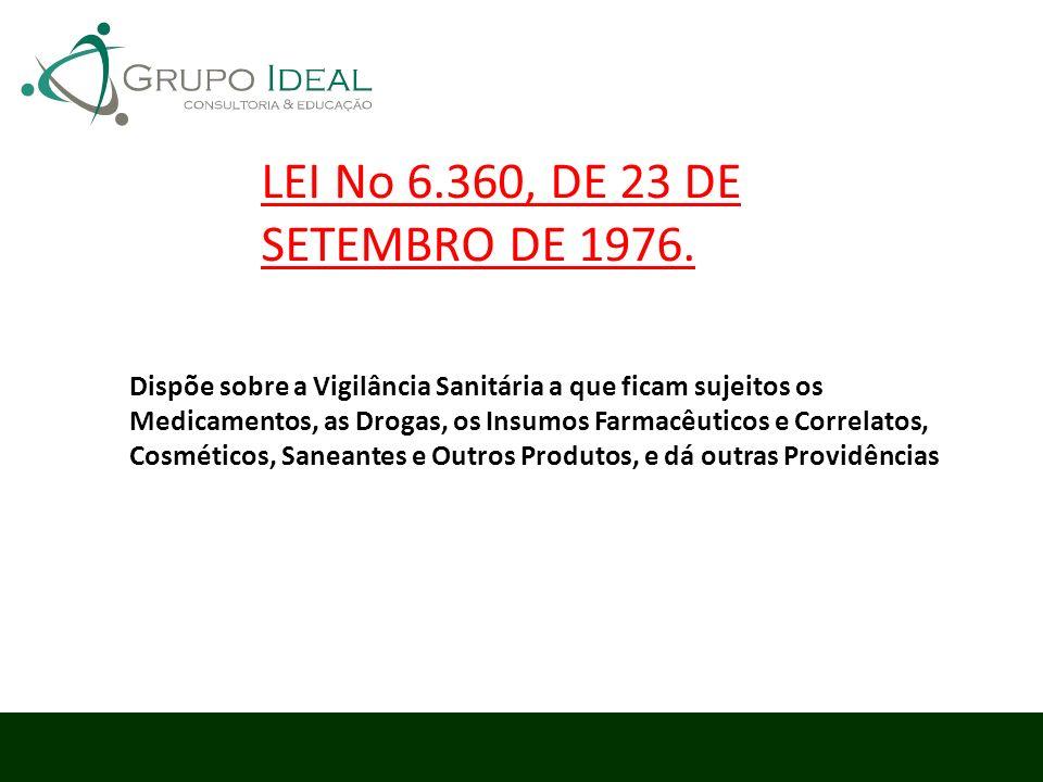 LEI No 6.360, DE 23 DE SETEMBRO DE 1976. Dispõe sobre a Vigilância Sanitária a que ficam sujeitos os Medicamentos, as Drogas, os Insumos Farmacêuticos