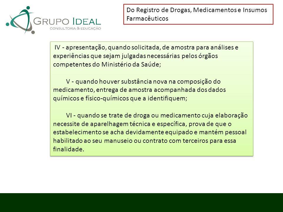 IV - apresentação, quando solicitada, de amostra para análises e experiências que sejam julgadas necessárias pelos órgãos competentes do Ministério da