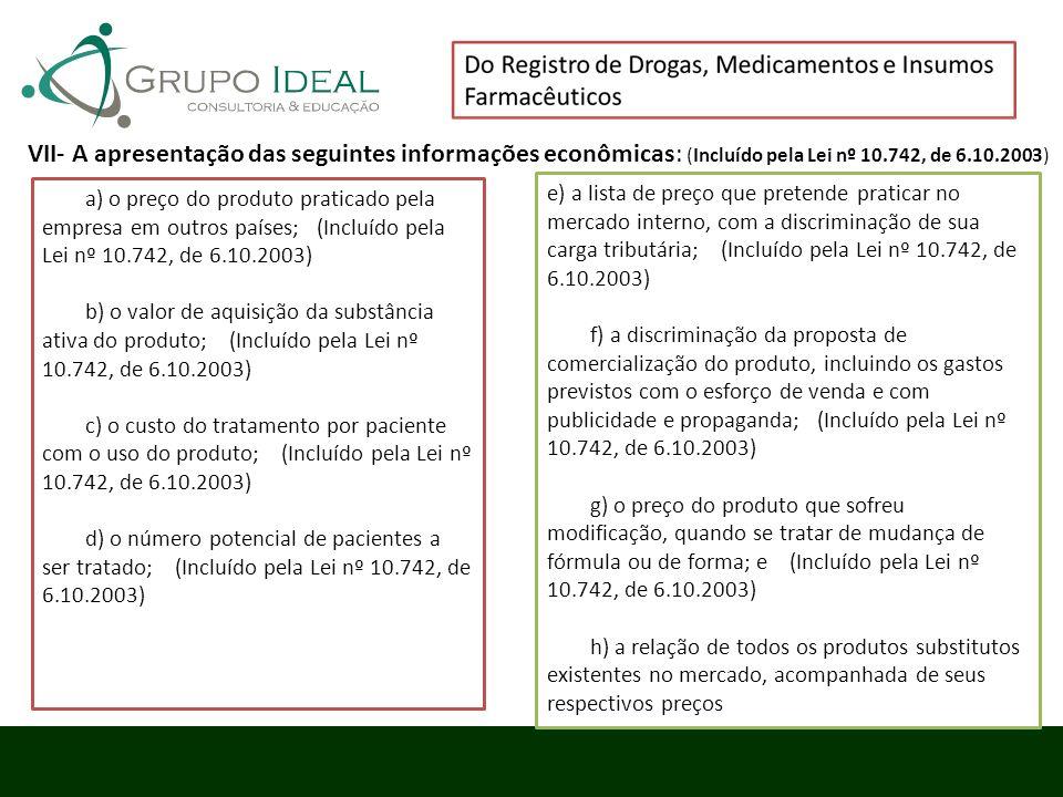 a) o preço do produto praticado pela empresa em outros países; (Incluído pela Lei nº 10.742, de 6.10.2003) b) o valor de aquisição da substância ativa