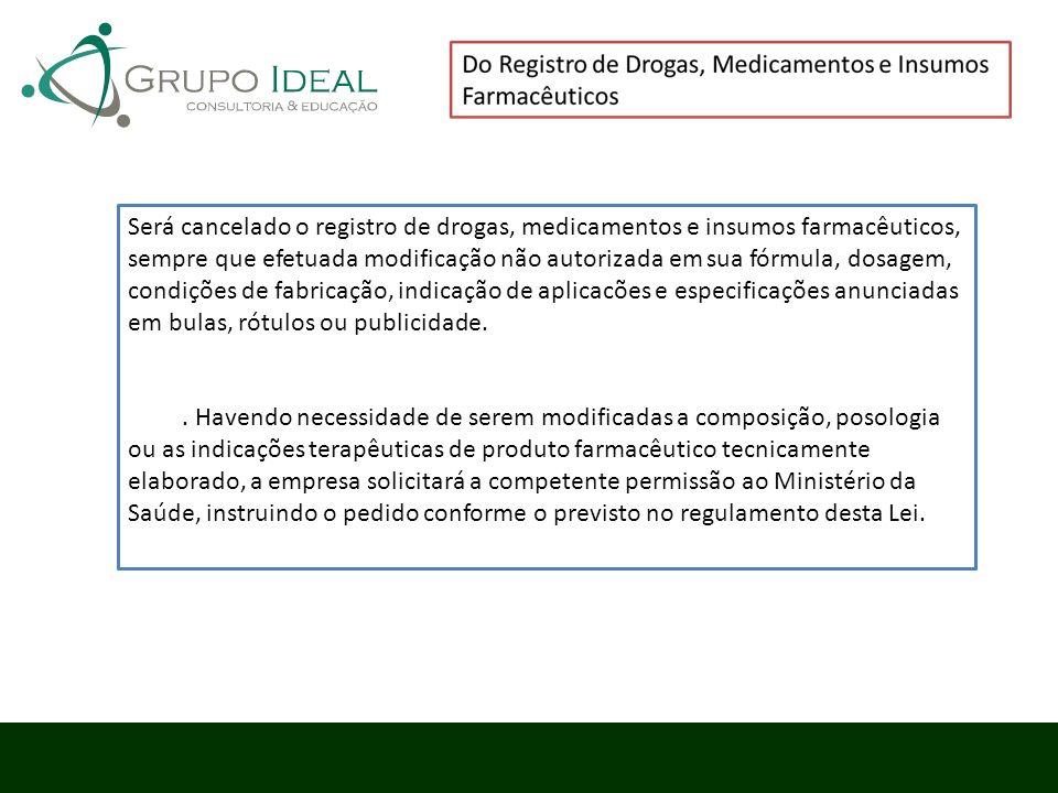 Será cancelado o registro de drogas, medicamentos e insumos farmacêuticos, sempre que efetuada modificação não autorizada em sua fórmula, dosagem, con