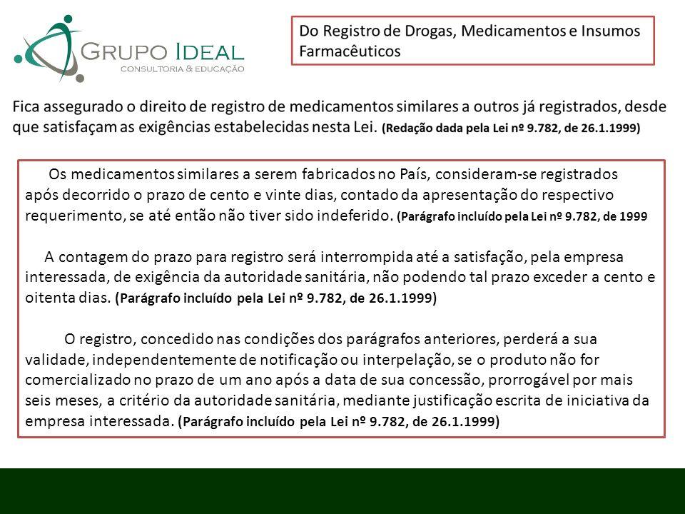 Os medicamentos similares a serem fabricados no País, consideram-se registrados após decorrido o prazo de cento e vinte dias, contado da apresentação