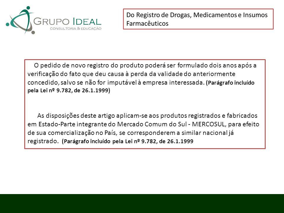 O pedido de novo registro do produto poderá ser formulado dois anos após a verificação do fato que deu causa à perda da validade do anteriormente conc