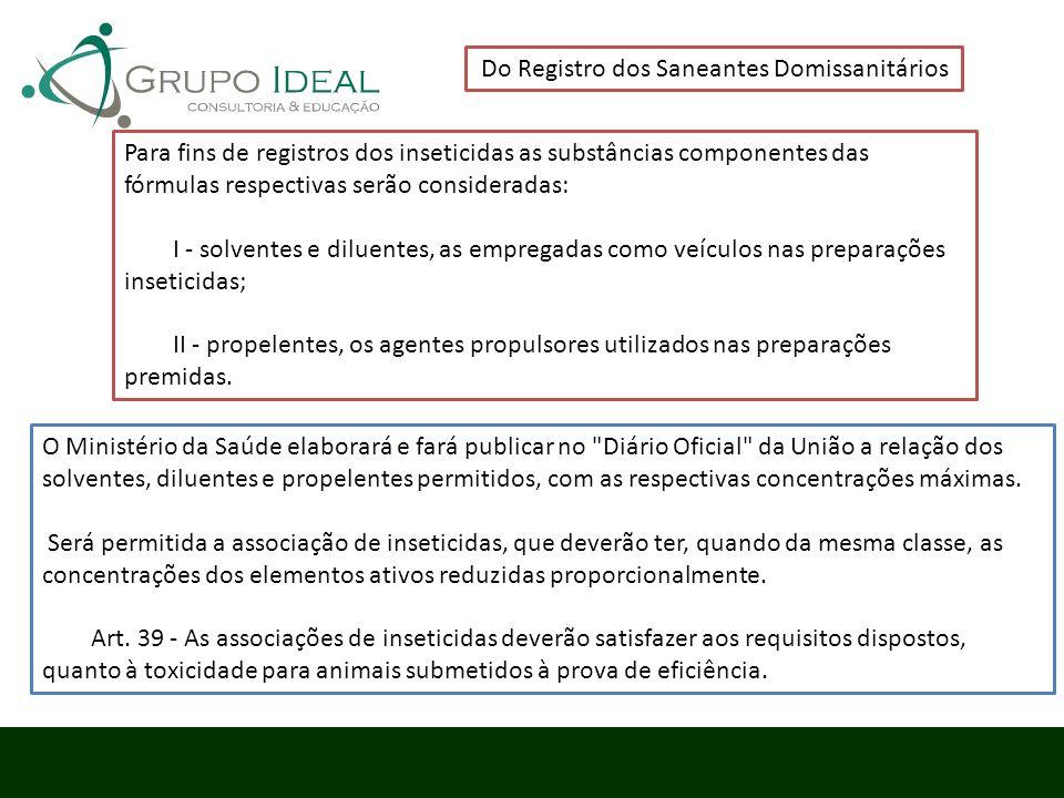 Do Registro dos Saneantes Domissanitários Para fins de registros dos inseticidas as substâncias componentes das fórmulas respectivas serão considerada