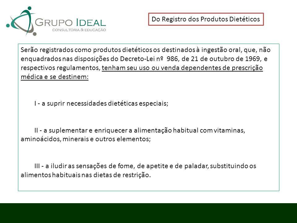 Do Registro dos Produtos Dietéticos Serão registrados como produtos dietéticos os destinados à ingestão oral, que, não enquadrados nas disposições do