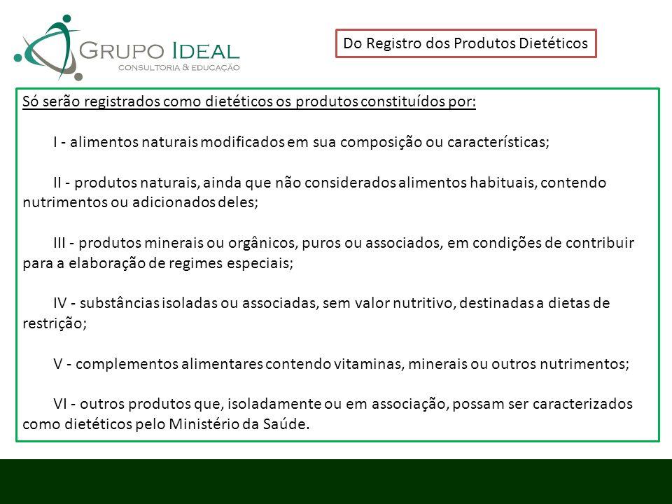 Do Registro dos Produtos Dietéticos Só serão registrados como dietéticos os produtos constituídos por: I - alimentos naturais modificados em sua compo