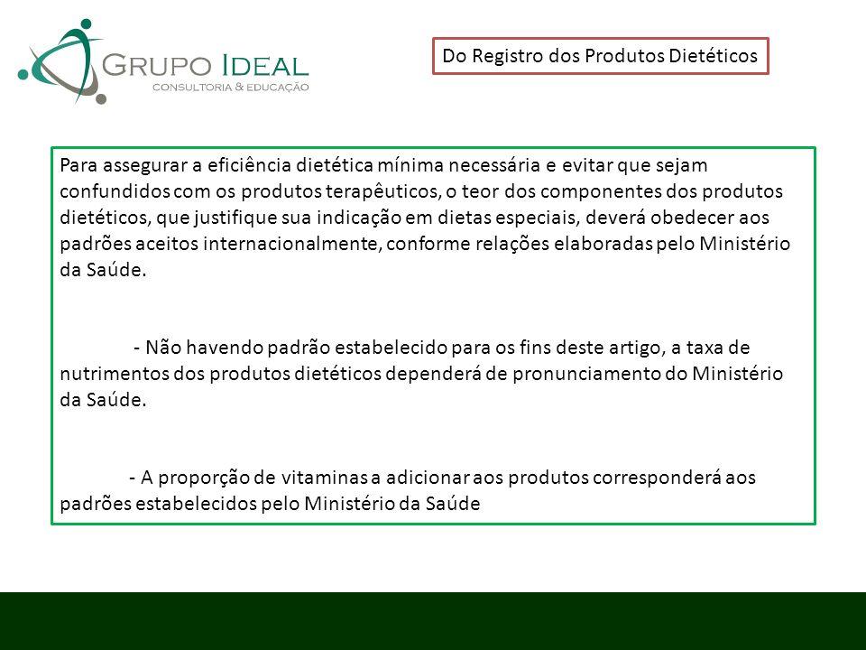 Do Registro dos Produtos Dietéticos Para assegurar a eficiência dietética mínima necessária e evitar que sejam confundidos com os produtos terapêutico
