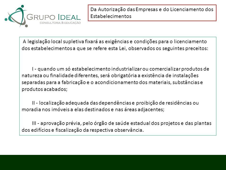 Da Autorização das Empresas e do Licenciamento dos Estabelecimentos A legislação local supletiva fixará as exigências e condições para o licenciamento