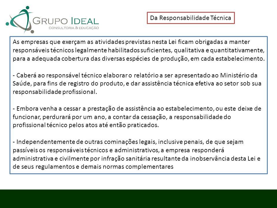 Da Responsabilidade Técnica As empresas que exerçam as atividades previstas nesta Lei ficam obrigadas a manter responsáveis técnicos legalmente habili