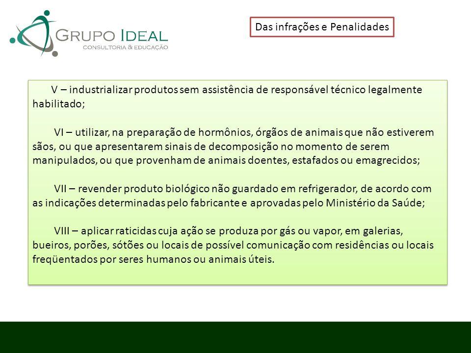 Das infrações e Penalidades V – industrializar produtos sem assistência de responsável técnico legalmente habilitado; VI – utilizar, na preparação de