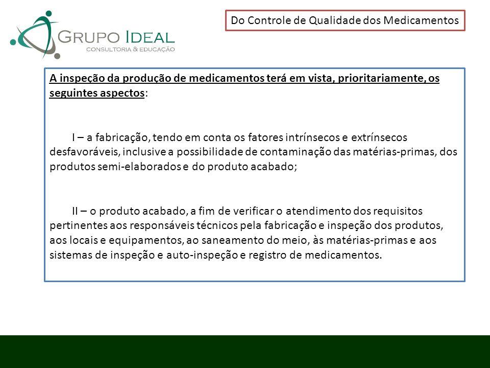 Do Controle de Qualidade dos Medicamentos A inspeção da produção de medicamentos terá em vista, prioritariamente, os seguintes aspectos: I – a fabrica