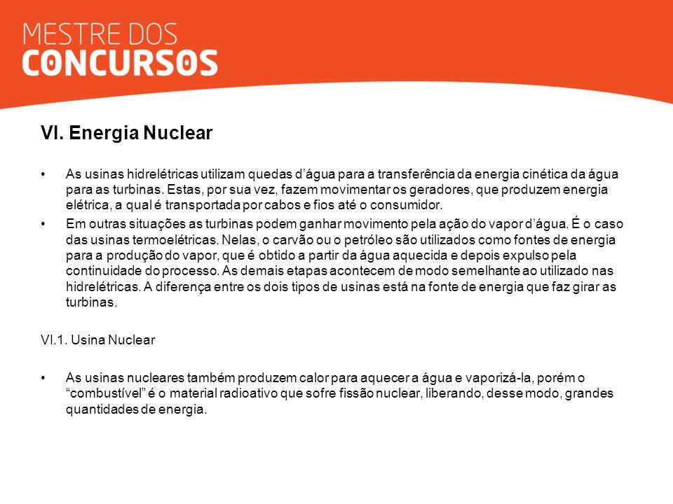 VI. Energia Nuclear As usinas hidrelétricas utilizam quedas dágua para a transferência da energia cinética da água para as turbinas. Estas, por sua ve