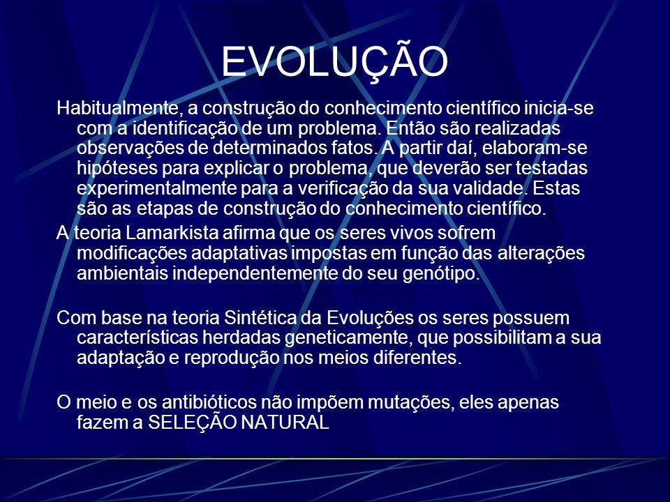 EVOLUÇÃO Habitualmente, a construção do conhecimento científico inicia-se com a identificação de um problema. Então são realizadas observações de dete