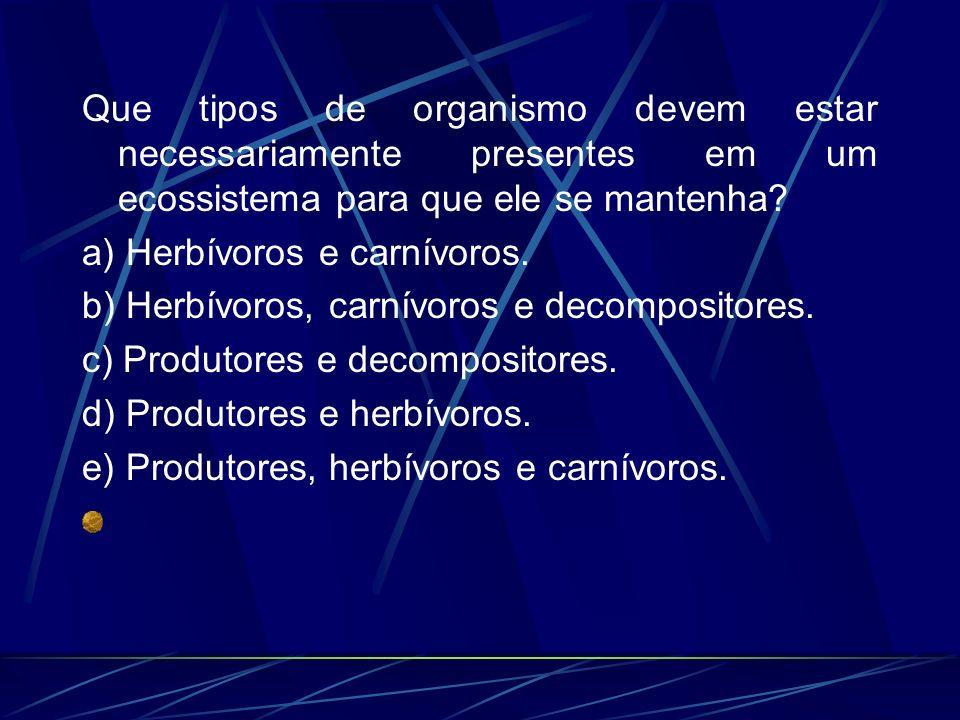 Que tipos de organismo devem estar necessariamente presentes em um ecossistema para que ele se mantenha? a) Herbívoros e carnívoros. b) Herbívoros, ca