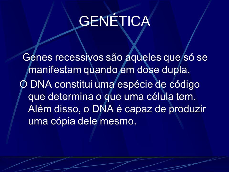 GENÉTICA Genes recessivos são aqueles que só se manifestam quando em dose dupla. O DNA constitui uma espécie de código que determina o que uma célula