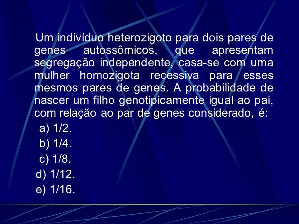 Um indivíduo heterozigoto para dois pares de genes autossômicos, que apresentam segregação independente, casa-se com uma mulher homozigota recessiva p