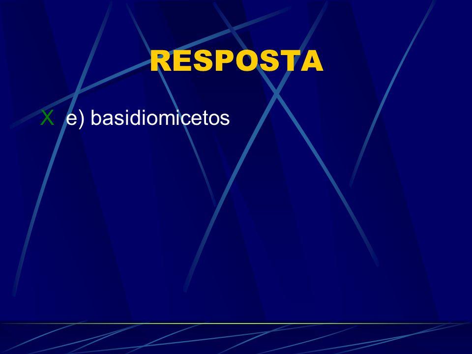 RESPOSTA X e) basidiomicetos
