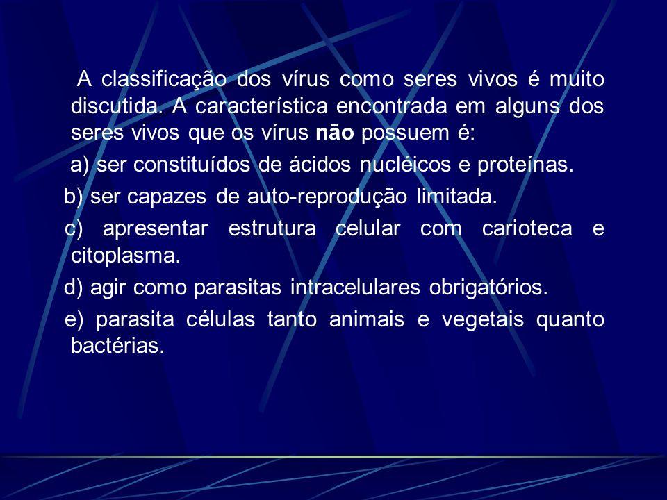 A classificação dos vírus como seres vivos é muito discutida. A característica encontrada em alguns dos seres vivos que os vírus não possuem é: a) ser