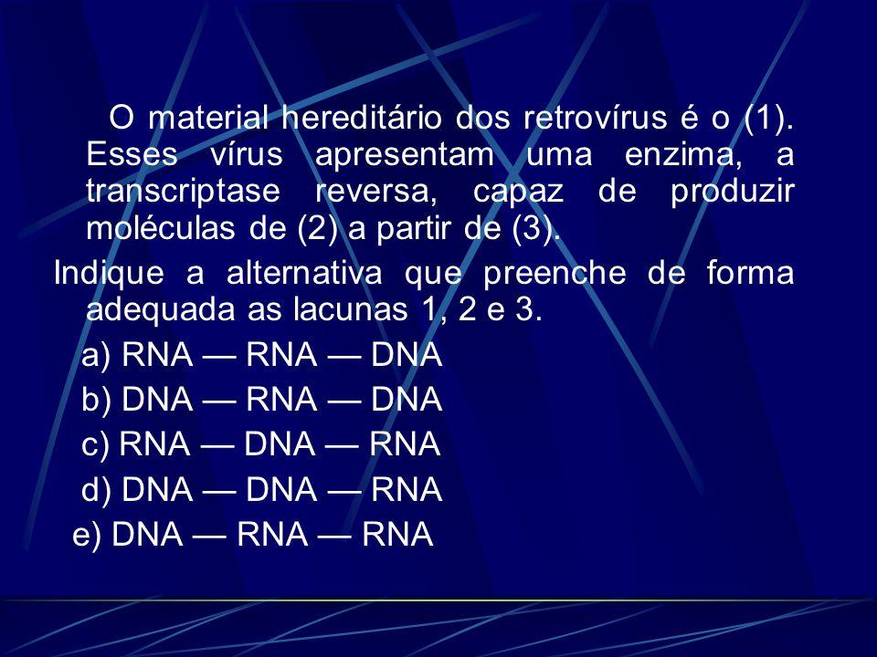 O material hereditário dos retrovírus é o (1). Esses vírus apresentam uma enzima, a transcriptase reversa, capaz de produzir moléculas de (2) a partir