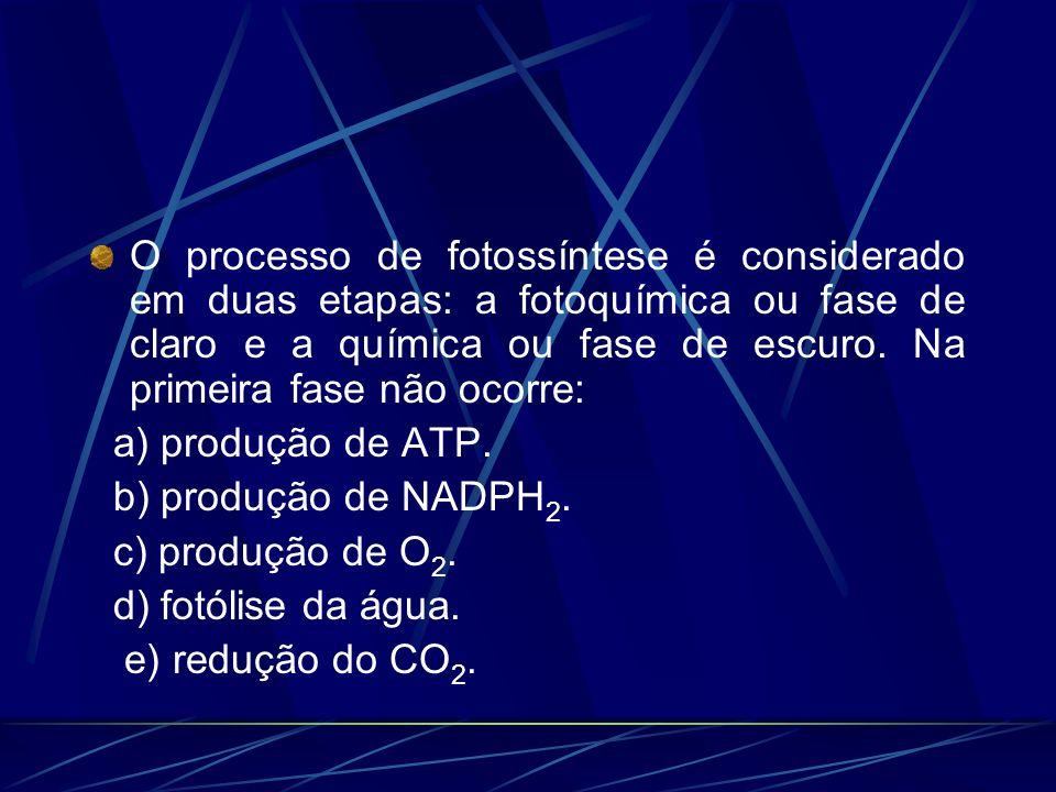O processo de fotossíntese é considerado em duas etapas: a fotoquímica ou fase de claro e a química ou fase de escuro. Na primeira fase não ocorre: a)