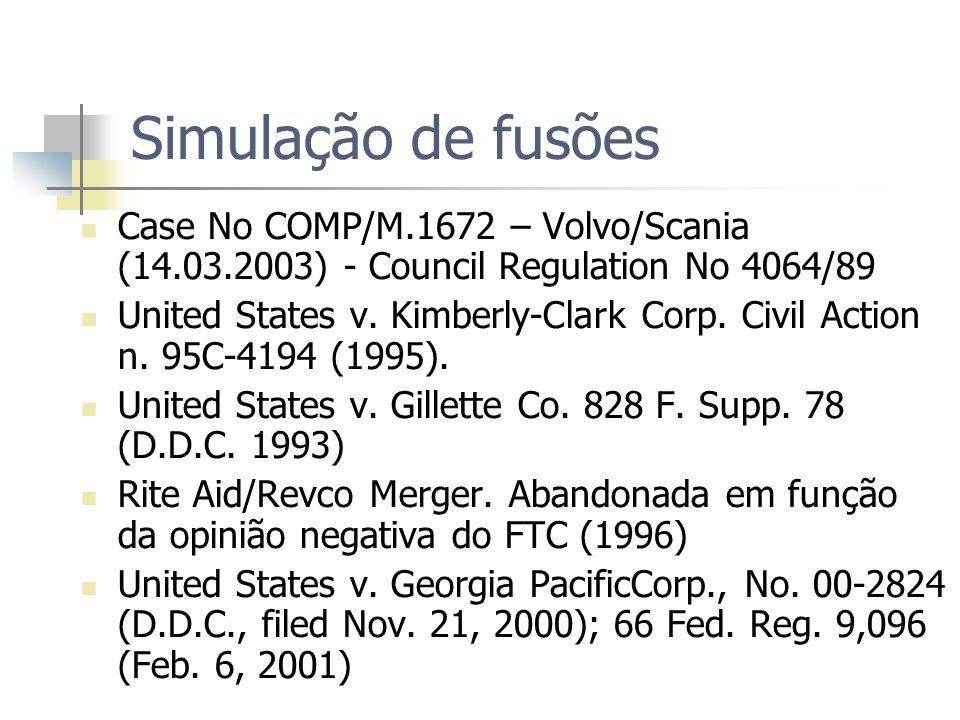 Simulação de fusões Case No COMP/M.1672 – Volvo/Scania (14.03.2003) - Council Regulation No 4064/89 United States v. Kimberly-Clark Corp. Civil Action