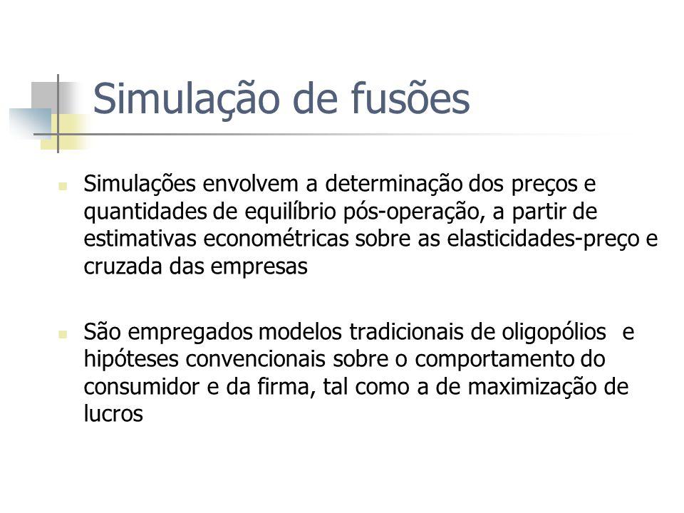 Simulação de fusões Simulações envolvem a determinação dos preços e quantidades de equilíbrio pós-operação, a partir de estimativas econométricas sobr