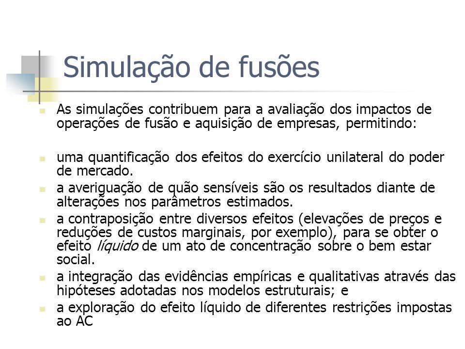 Simulação de fusões As simulações contribuem para a avaliação dos impactos de operações de fusão e aquisição de empresas, permitindo: uma quantificaçã