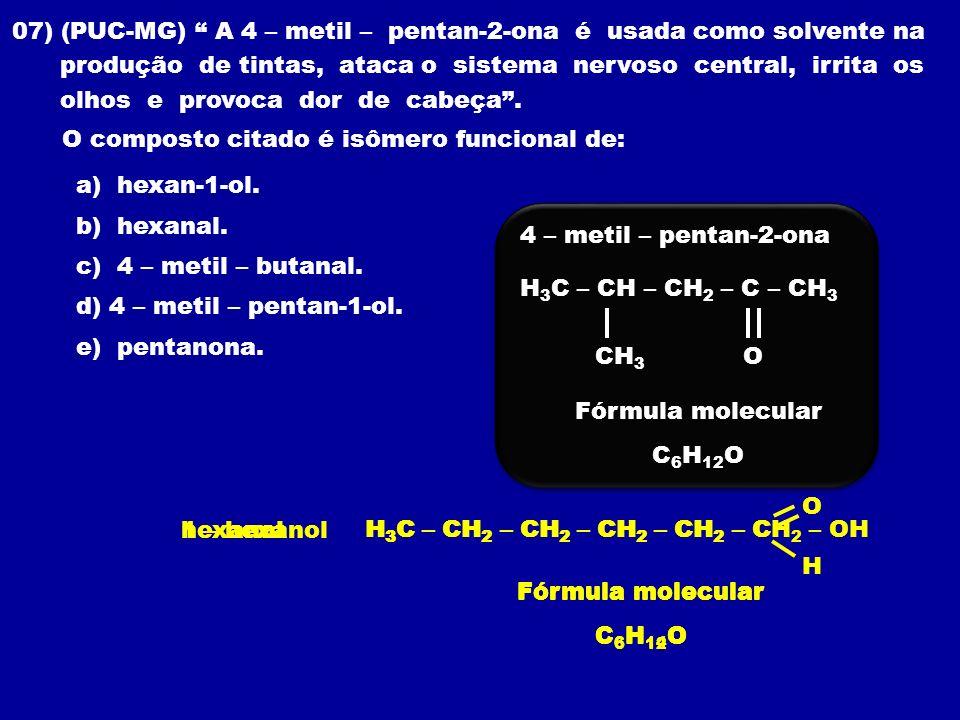 07) (PUC-MG) A 4 – metil – pentan-2-ona é usada como solvente na produção de tintas, ataca o sistema nervoso central, irrita os olhos e provoca dor de