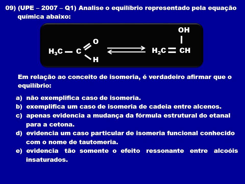 09) (UPE – 2007 – Q1) Analise o equilíbrio representado pela equação química abaixo: Em relação ao conceito de isomeria, é verdadeiro afirmar que o eq