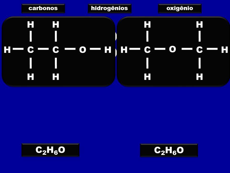 carbonos hidrogênios oxigênio C2H6OC2H6O C2H6OC2H6O C2H6OC2H6O C2H6OC2H6O C C C C H H H H H H H H H H O O H H C C C C H H H H H H H H H H O O H H