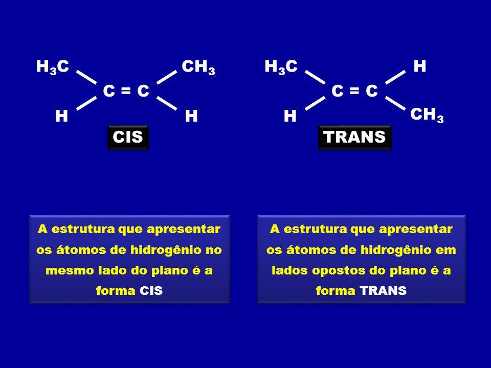 H H3CH3C H CH 3 A estrutura que apresentar os átomos de hidrogênio no mesmo lado do plano é a forma CIS A estrutura que apresentar os átomos de hidrog